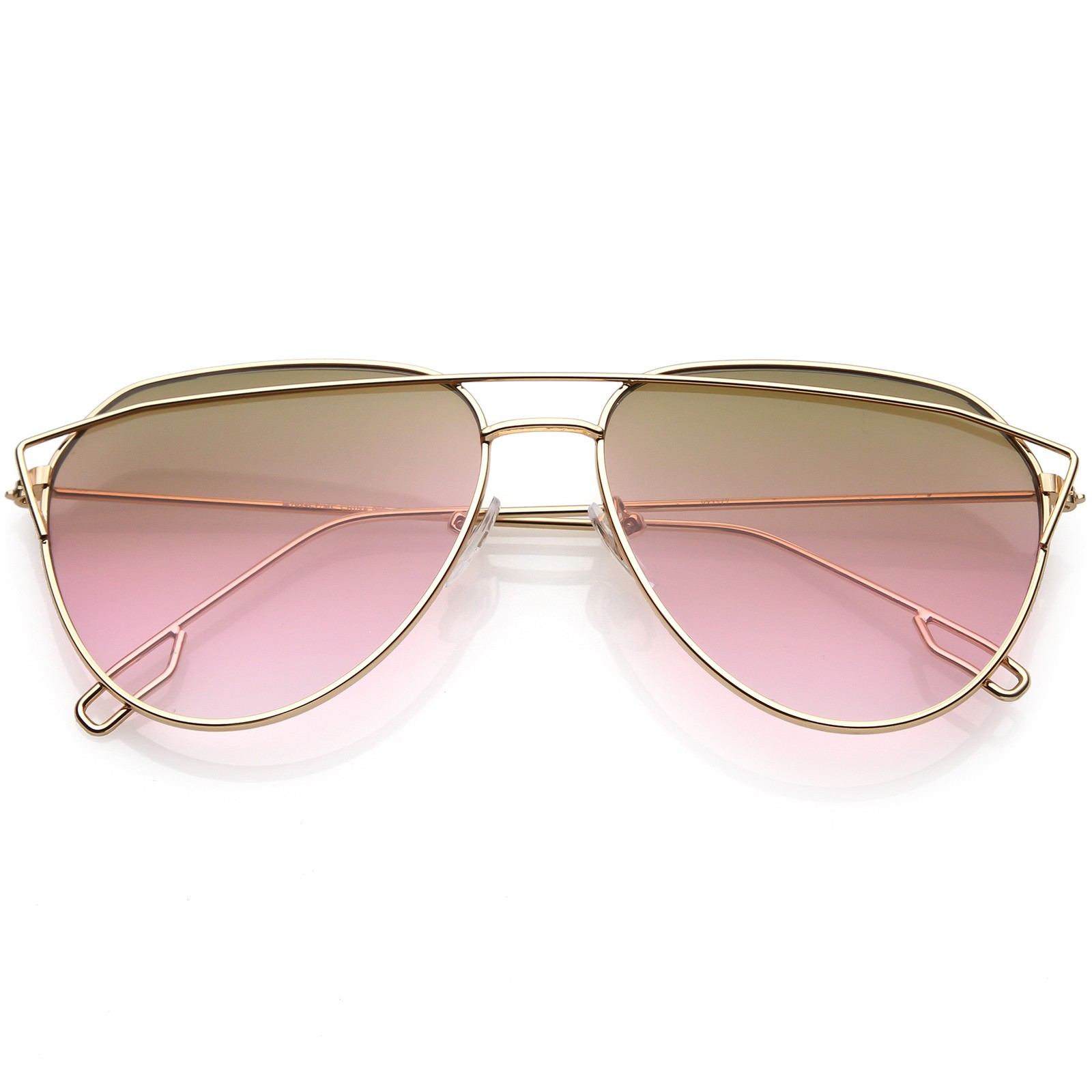 892b558ed9e Womens Aviator Sunglasses Metal Crossbar Multicolor Gradient Flat Lens  58mm. 100% UV Protection The Most Fashionable Completely Free Shipping